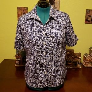 George Blue & White Dotted Blouse